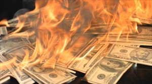 The Great Reset Burning Dollars Poster